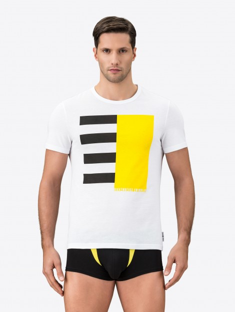 T-Shirt In Jersey Con Stampa Color Block Nel Centro